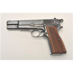 "Early Browning High Power semi-automatic  pistol, 9mm caliber, 4.5"" barrel, blued  finish, checkered"