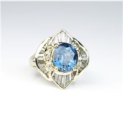 Dazzling ladies ballerina design ring  featuring an oval blue sapphire weighing 4.63  carats and sur
