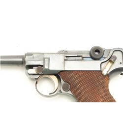 "German Luger semi-automatic pistol, .30  Commercial caliber, 3.75"" barrel, blued  finish, checkered"