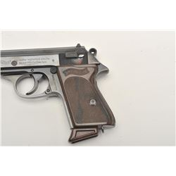"Walther Model PPK semi-automatic pistol, 9mm  kurz caliber, 3.5"" barrel, blued finish,  checkered br"