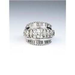Amazing cocktail ring featuring forty MQ and  baguette cut diamonds weighing approx. 2.00  carat of