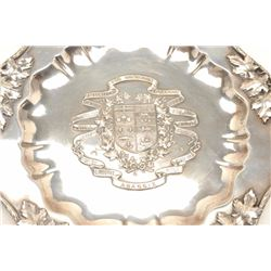 """Elaborate sterling silver shooting prize   plaque signed """"Birks"""" who were the Canadian   equivalent"""
