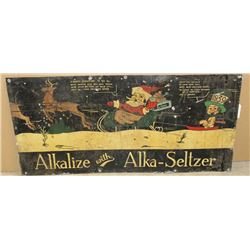 """Large metal painted sign advertising  """"Alkalize with Alka-Seltzer showing Santa  Claus and reindeer"""