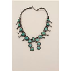 Sterling Silver Squash Blossom style American  Indian made Necklace mounted with turquoise.  collect