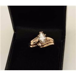Over 1 ct Marquise cut Diamond Ring  H-I  color, 12 side Diamonds, approx. 7gr. 14k.  Vintage Estate