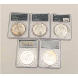 Mixed Lot of 5 MS-63 Dollars, P.C.G.S. graded  1889-0, 1886, 1886, 1887, 1887. Est$275-550