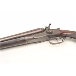 Manton & Richards side by side hammer  shotgun, approximately 12 gauge, serial  #10278.  The shotgun