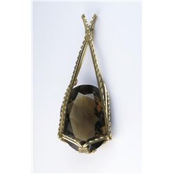 Huge handmade Sterling over gold plate  necklace featuring a large smoky topaz  weighing approx. 100