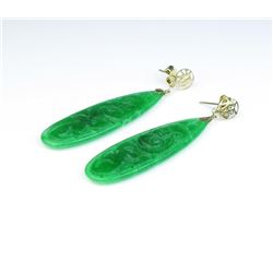 Very nice pair of intense green Jadeite/Jade  earrings averaging almost two inches in  length in 14