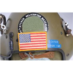 24th Attack Helicopter Battalion Helmet with  ID sticker; CATOB, Viper-195; complete and in  good co