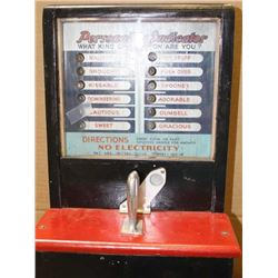 "1930's era Personality machine (measures  ""Personality"" by strength of grip that is  squeezed after"
