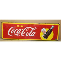 "Large color enamel on metal classic Drink  Coca-Cola sign, approximately 18"" x  58""  overall and in"
