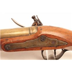 "J. Probin flintlock blunderbuss,  approximately 28.5"" overall with a 13"" brass  barrel, wood stock,"