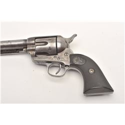 "Colt SAA revolver, .45 caliber, 7.5"" barrel,  blued and case hardened finish, checkered  hard rubber"