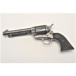 "Colt SAA revolver, .38 W.C.F. caliber, 5.5""  barrel, blued and case hardened finish,  checkered hard"