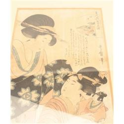 "Framed and matted antique Japanese woodblock  print; approximately 23"" x 17"" overall  showing some d"