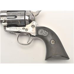 "Colt SAA revolver, .45 caliber, 5.5"" barrel,  blued and case hardened finish, checkered  hard rubber"