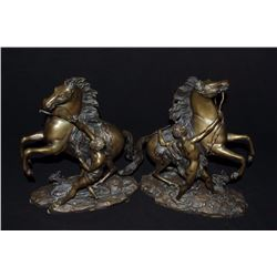 "Pair of Chevaux De Marly signed ""Coustou"" on  the right horse. Posthumous castings after  turn of th"