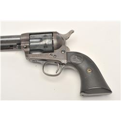 "Colt SAA revolver, .38 W.C.F. caliber, 7.5""  barrel, re-finished, checkered hard rubber  good condit"
