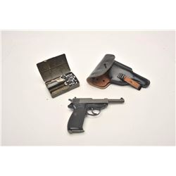 "Walther P-38 semi-automatic pistol, import  marked, 9mm caliber, 4.75"" barrel, mat grey  finish, che"