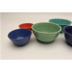 "Lot of 5 ""Bauer"" mixing bowls ca. 1950's;  different sizes; colors include blue, orange,  turquoise"