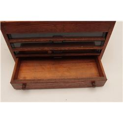 """Vintage wood 4-drawer cabinet ca. 1900's;  approximately 13"""" in height, 20"""" wide and 17""""  deep; grea"""