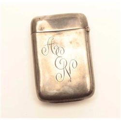 """Silver match case with Indian symbol.  The  match case is in good condition with the  monogram """"AN"""""""