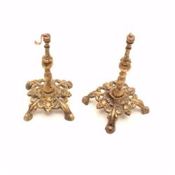 """Pair of cast gold tone pocket watch holders.   The pair is approximately 6"""" in height with  brass ho"""