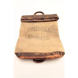 """Canvas and leather money bag prop marked  """"OVERHOLT EXPRESS"""", with Certificate of  Authenticity from"""