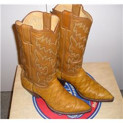 Pair of Men's Exotic Cowboy Boots, tan  anteater lower with a darker tan stitched  upper. Justin siz