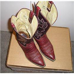 Pair of Mens Exotic Boots. Reddish brown  elephant lowers with chocolate brown stitched  uppers. Hon