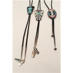 Lot of 3 sterling marked and signed bolo  ties.    From the estate of Elmer E. Taylor.      Est.:  $