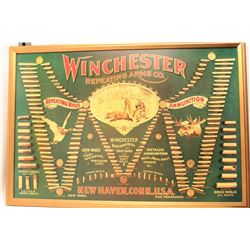 Large framed Winchester color facsimile of an  ammunition cartridge board in very good  condition. E