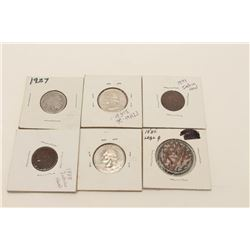 Lot of collector's coins as described: 1845  large cent, 1899 1 cent, 1888 1 cent, 2 1999  commemora
