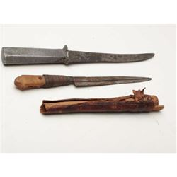 "Lot of two WW II era misc. ""in theater""  knives, one with an aluminum grip off a  Japanese Zero airp"
