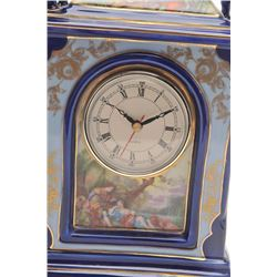 French Limoges cobalt blue porcelain mantle  clock with quartz movement, ca. 1960's;  approximately