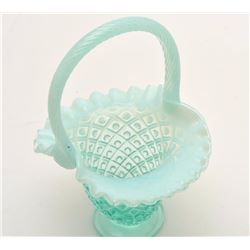 "Fenton glass basket, approximately 10"" in  height; ca. 1950's; very collectible.        Est.:  $50-$"