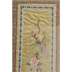 "Framed Chinese tapestry, approximately 20"" x  11"" overall; ca. 1940's.     Est.:  $75-$150."