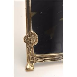 "Modern Art Nuevo brass framed mirror,  approximately 11"" x 9"".    Est.:  $25-$50."