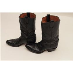 Pair of Tony Llama black buffalo boots, size  8; good to very good condition.    From the  estate of