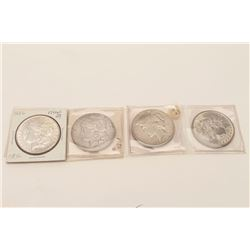Lot of 4 U.S. dollars, 3 Morgan and 1 peace  dollar. Old collector's horde. Est.: $80-$160