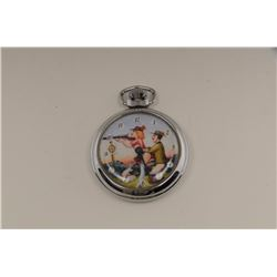 Open face pocket watch with racy man and   woman on face target shooting; not working at   time of d