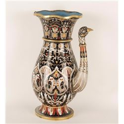 """A cloisonné kettle or urn with bird effigy,  approximately 13.5"""" in height; missing its  handle."""