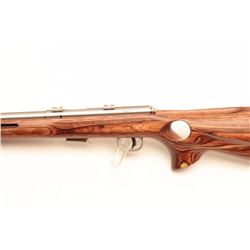 "Savage Model 93R17 bolt action rifle, .17 HMR  caliber, 21"" barrel, stainless, laminated  wood thumb"