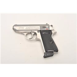 "Walther Model PPK/S semi-automatic pistol,  .380 ACP caliber, 3.25"" barrel, stainless,  checkered bl"