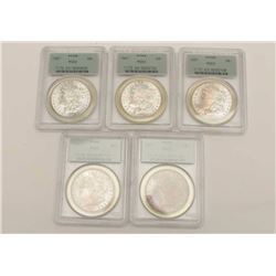 PCGS Graded MS-63 U.S. Dollars 5 total. Dated  1887 Est:$275-550