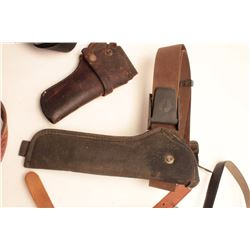 Lot of vintage holsters and belts; Bianchi,  Viking, others; value to $100 each.         Est.:  $150