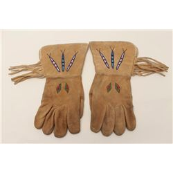 Beaded gauntlets with fringe, ca. 1910-1930;  Wild West Show type; good to very good  condition.