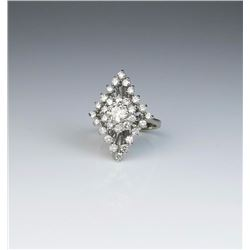 Dazzling ladies ring featuring a center  'IDEAL' cut diamond weighing 0.70 carats of  H-I color and