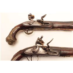 European made for trade to Middle East  blunderbuss flintlock pistols with fine gold  damascened dec